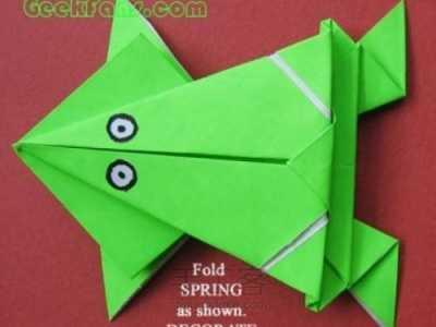 如何用折纸制作会跳远的青蛙 会跳的青蛙怎幺折